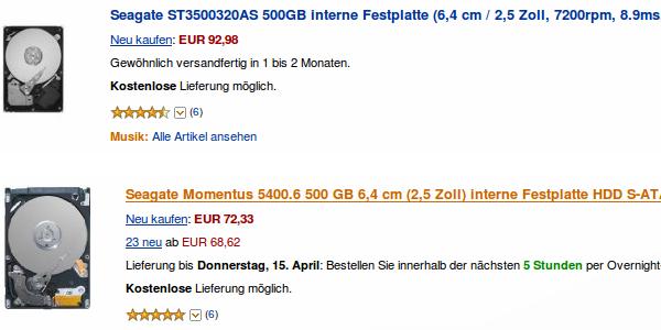 Amazon Preisvergleich Festplatten