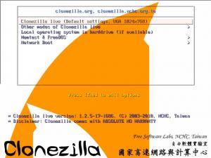 Clonezilla Startbildschirm