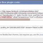 Facebook Like Box Höhe Breite