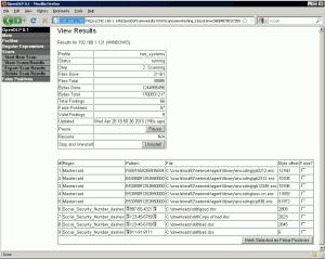 OpenDLP Suchergebnisse in der Web-Applikation