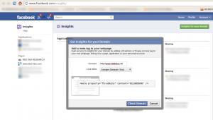Die eigene Domäne in Facebook Insights aufzunehmen ...