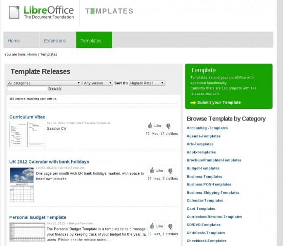 Vorlagen-Repository für LibreOffice