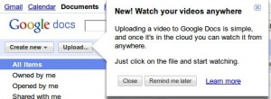 Google Docs upload Videos