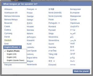 Facebook Piratensprache
