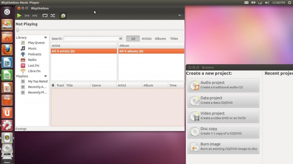 Ubuntu 12.04 LTS Precise Pangolin Rythmbox Brasero
