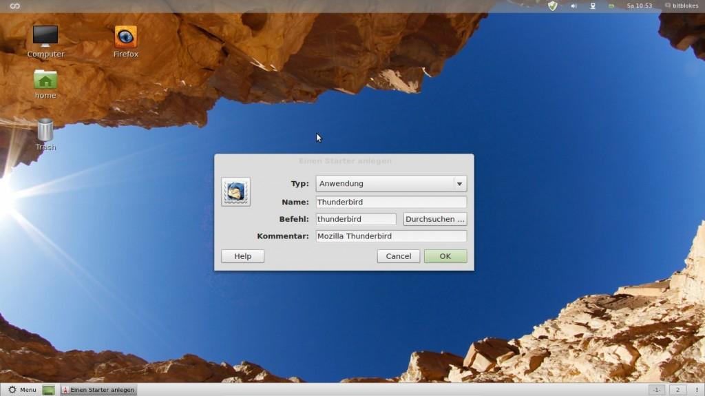 Linux Mint 12 Lisa Thunderbird und Firefox als Desktop-Launcher