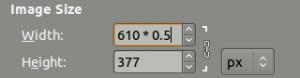 GIMP 2.8: Mathematische Ausdrücke in der Größenangabe