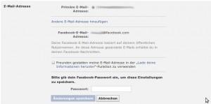Facebook E-Mail unlöschbar