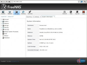 FreeNAS 8.2.0: Webclient
