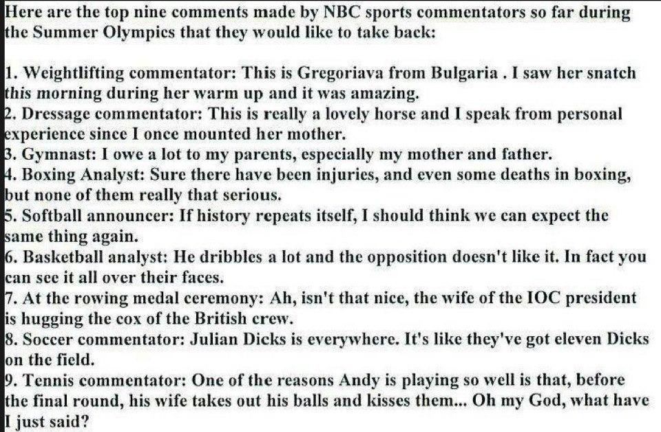 Aussagen von Kommentatoren zur Sommer-Olympiade 2012 in London