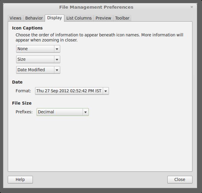Nemo mit konfigurierbaren Einheiten (Quelle: linuxmint.com)