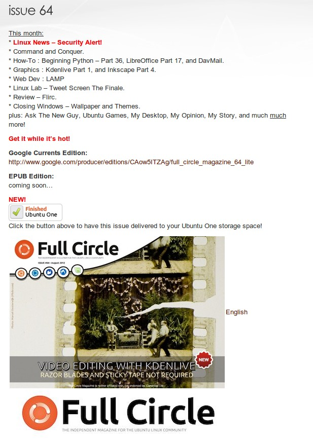 Full Circle Magazine: Send to Ubuntu One