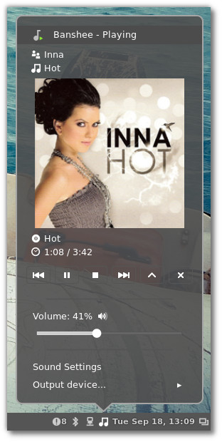 Cinnamon 1.6 Sound-Applet (Quelle: linuxmint.com)