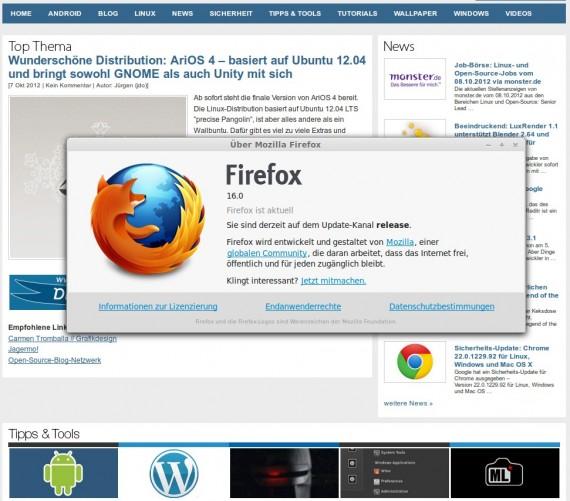 Firefox 16 unter Linux 64-Bit