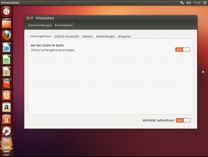 Ubuntu 12.10: Einstellungen der Privatsphäre