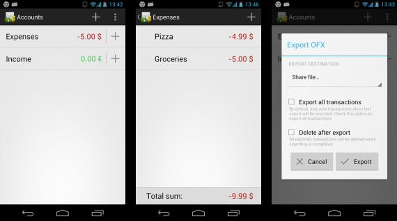 GnuCash für Android (Quelle: www.codinguser.com)