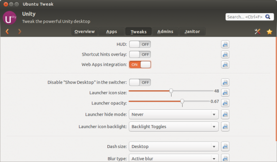 Ubuntu Tweak: Web Apps deaktivieren (Quelle: blog.ubuntu-tweak.com)