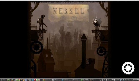 Vessel für Linux: Startbildschirm