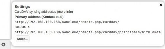 ownCloud: Kontakt-Einstellungen