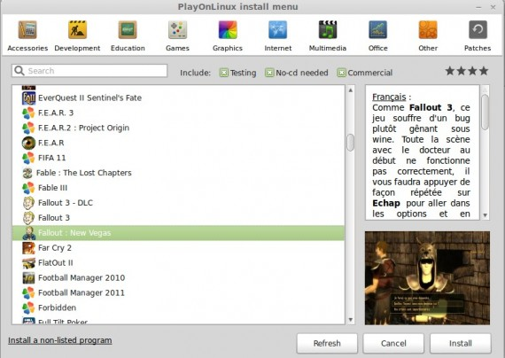 PlayOnLinux: Installer-Menü