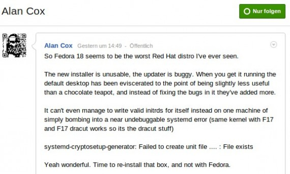Fedora 18: Alan Cox is not amused ...