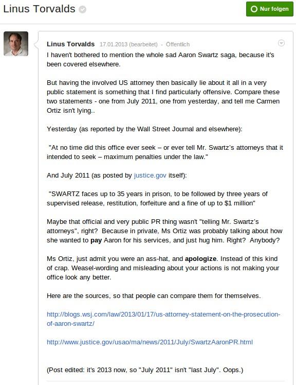 Linus Torvalds gibt Ortiz die Schuld