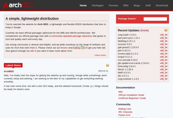 Arch BSD: Webseite online
