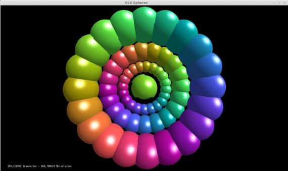 glxspheres mit NVIDIA-Treiber 310.xx: 190 Frames pro Sekunde