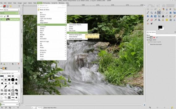 GIMP: Hochpass-Filter auswählen