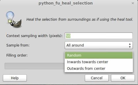 GIMP Heal Selection: Filling order