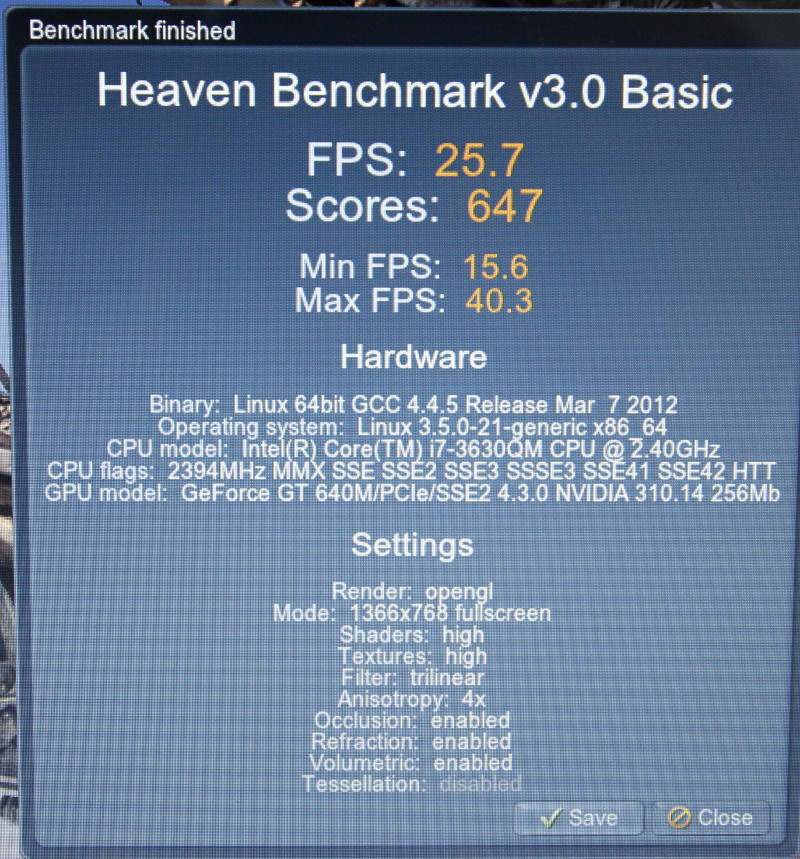 Unigine Heaven Benchmark: ganz ordentlich mit optirun
