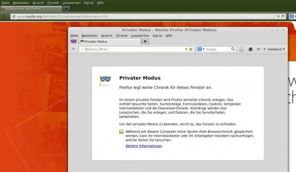 Firefox 20: Privat und herkömmlich laufen parallel