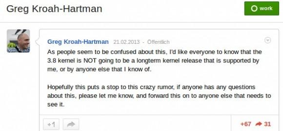 Greg K-H: Kernel 3.8 nicht LTS