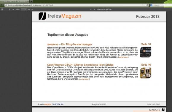 Firefox 19: PDF-Betrachter mit freiesMagazin