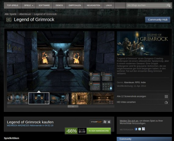 Legend of Grimrock für 5,09 US-Dollar