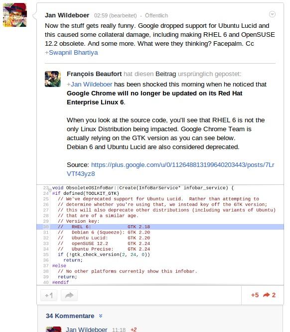 GTK entscheidend für Chrome-Unterstützung