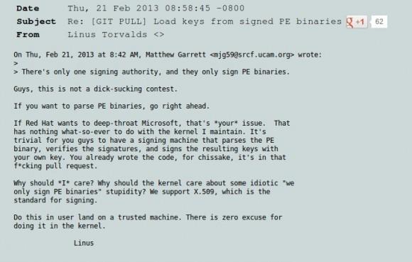 Linus Torvalds motzt ...