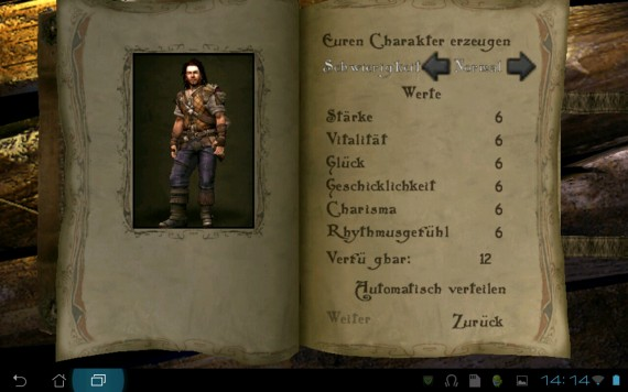 Bard's Tale für Android: Character-Erstellung