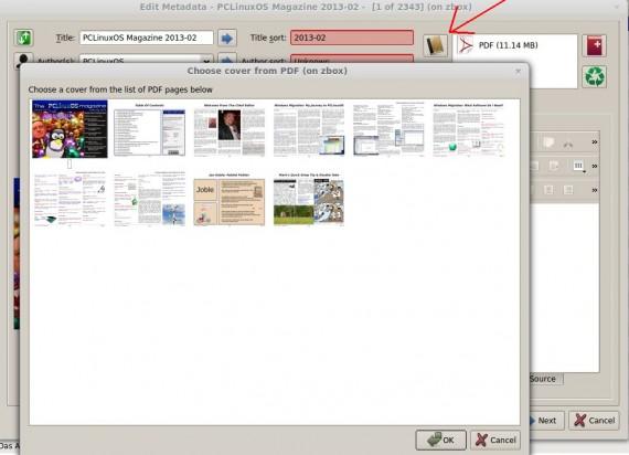 Calibre: Cover aus PDF-Seiten wählen