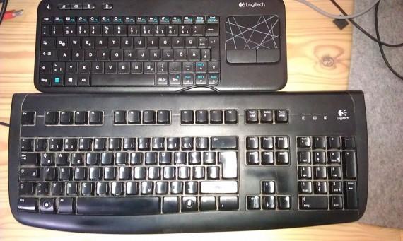 Tastatur-Größenvergleich (nach Grundreinigung der alten)
