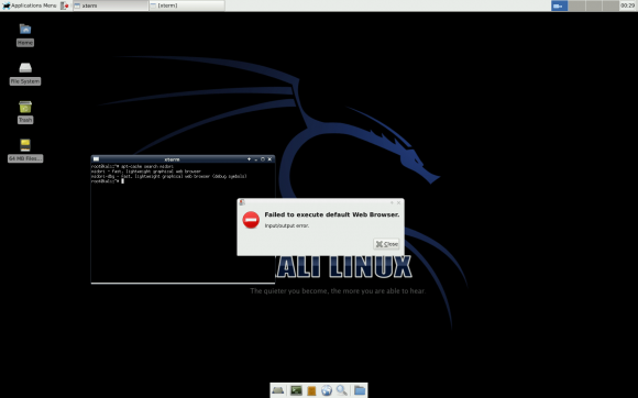 Kali trifft Raspberry Pi: Kein Browser?