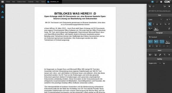 OX-Demo: Text-Datei editieren