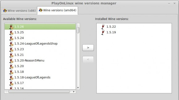 PlayOnLinux: Wine 1.5.26