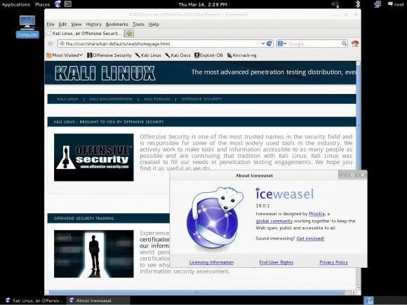 Kali Linux 1.0: Iceweasel