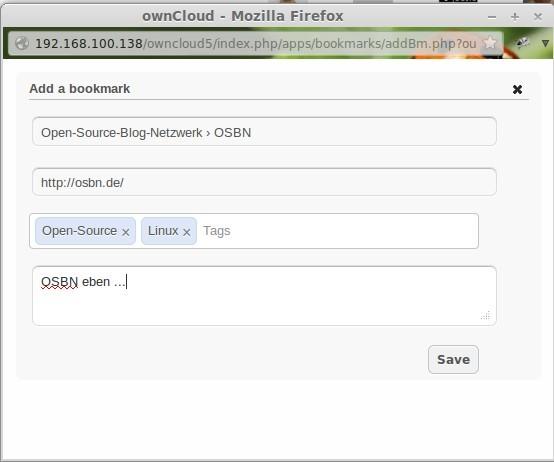 ownCloud: Seite bookmarken