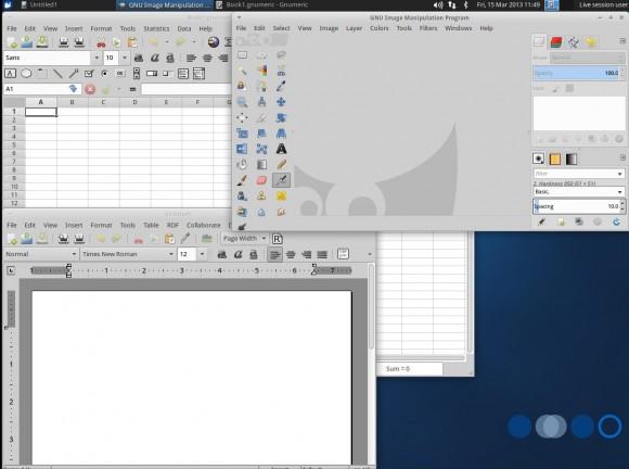 Xubuntu 13.04: GIMP, Abiword und Gnumeric