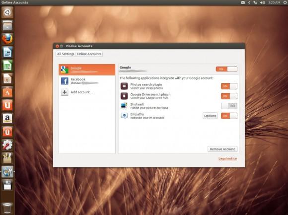 Ubuntu 13.04 Raring Ringtail: Online-Konten