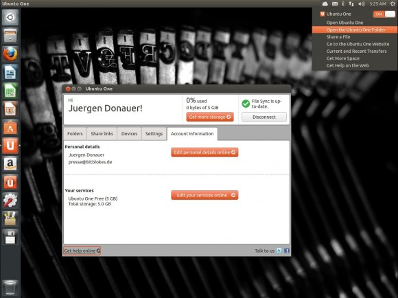 Ubuntu 13.04 Raring Ringtail: Ubuntu One mit eigenem Menü