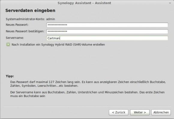 DSM installieren: admin-Passwort