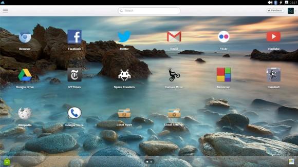 Jolicloud-Desktop: Startbildschirm vergrößert